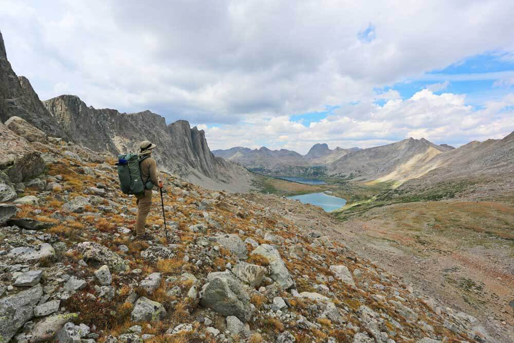 Looking north toward Lee Lake and Middle Fork Lake from near the base of Pronghorn Peak.