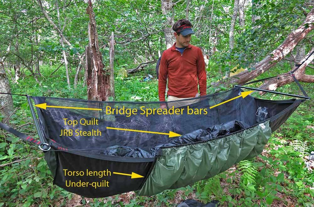 Andrew Skurka inspects a classic bridge hammock: the Jacks R Better Bear Mountain Bridge with Greylock 3 under-quilt.