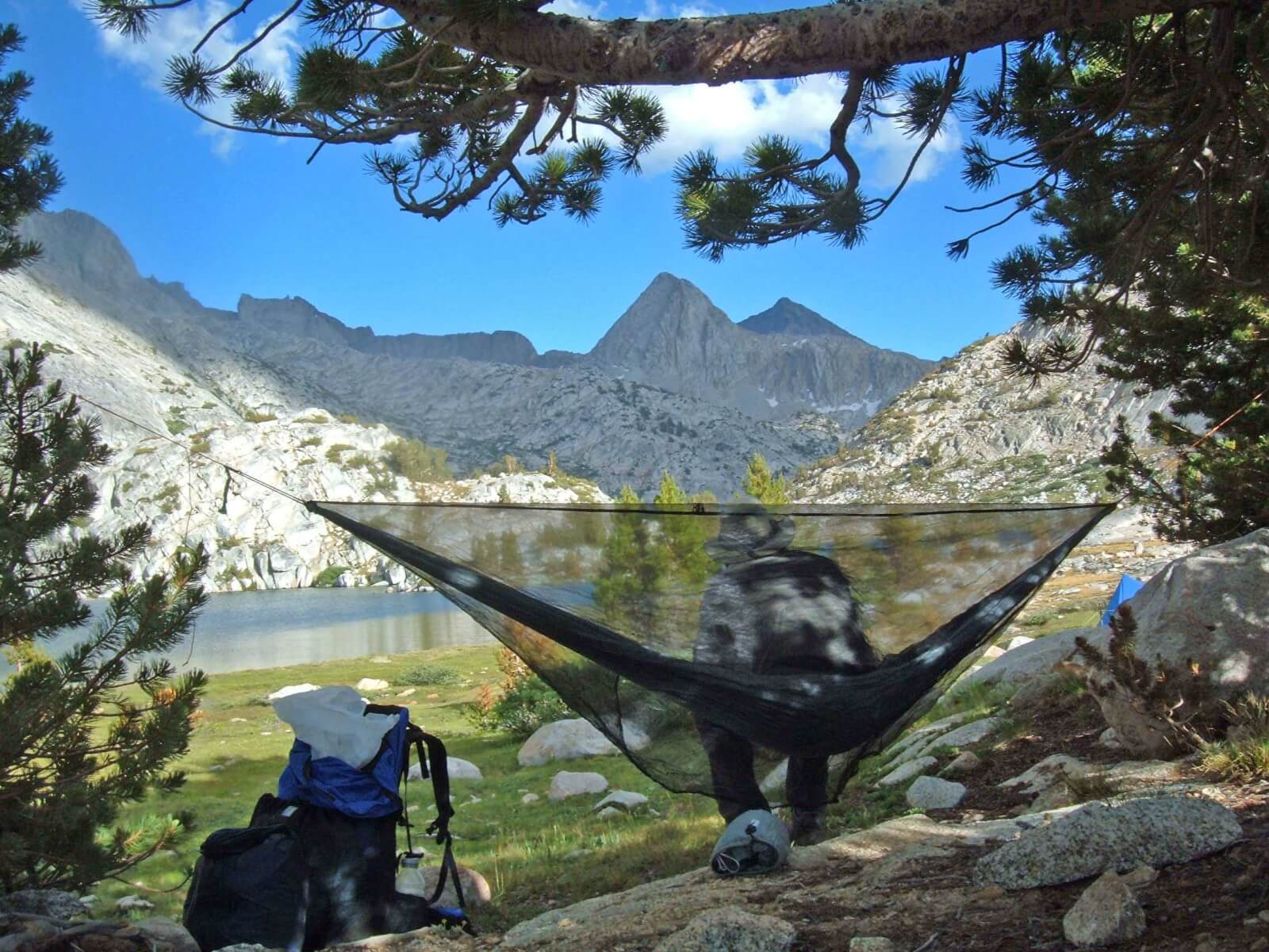 a gathered end hammock made by george  u201ctin man u201d andrews  self portrait  being used as a camp chair during a thru hike of the john muir trail in california  hammock camping   part ii  types of backpacking hammocks and spec      rh   adventurealan