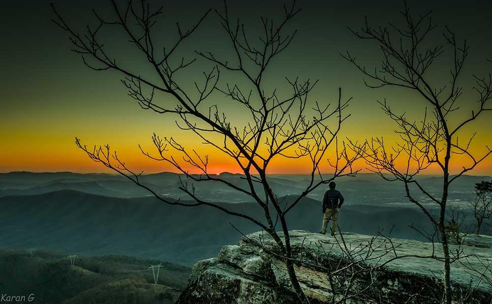 Why we hike the AT. Glorious sunset from MacAfee Knob. [Photo Karan Girdhani]