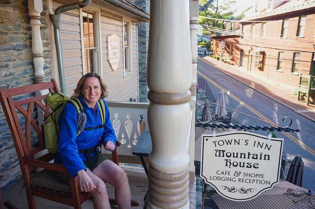 Rocking chair on the porch of the Town's Inn, in the historic lower section of Harper's Ferry.