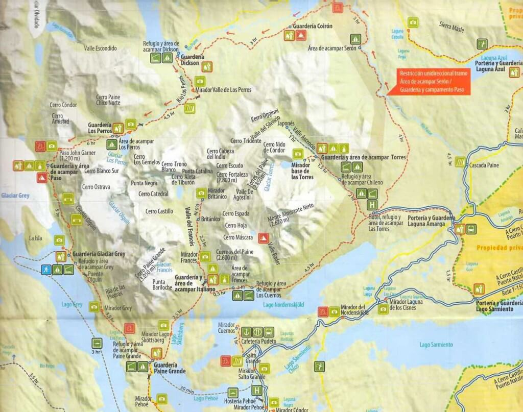 The Park's official 2017 Map is all you need to safely hike Torres del Paine. Note: Most if not all other maps and guidebooks are out of date with incorrect listings of campgrounds no longer in use, and trails and miradors (viewpoints) that are now closed to travel. [click on map to enlarge a bit]