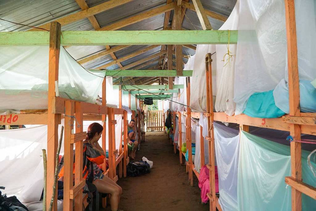 Basic accommodations: bunks covered with mosquito netting.