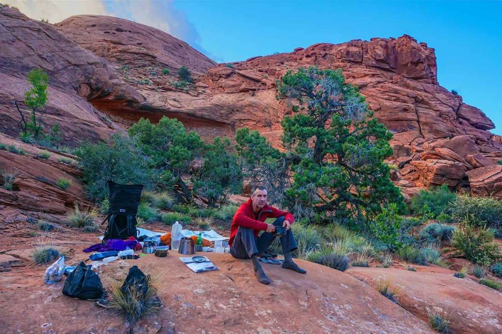 A typical slick rock camp. This is an extermely remote canyon. (We just put quilts down on the slcikrock to sleep.)