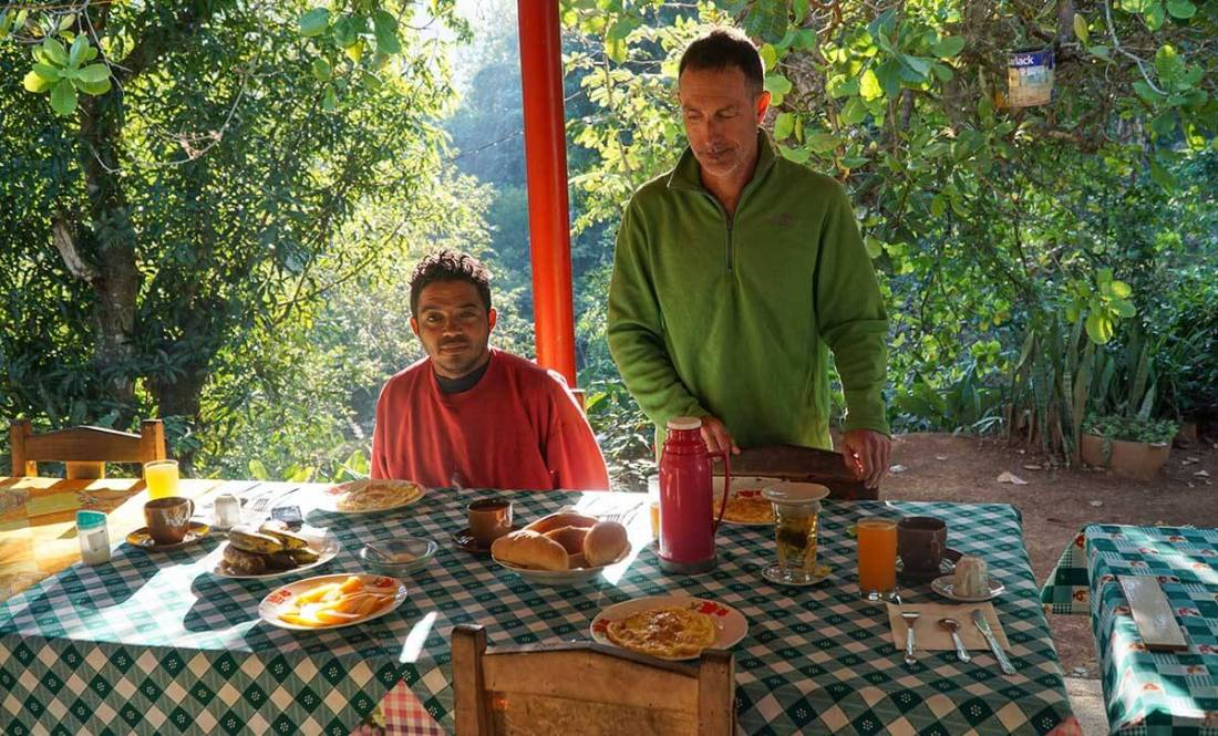 The height of luxury. Breakfast at our casa particular (bed and breakfast) in Santo Domingo at the end of the trek.