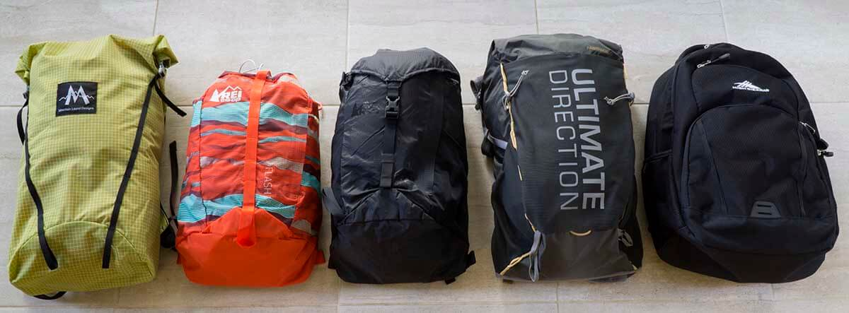 2915c0e43f Light   low cost daypacks L to R from lightest to heaviest   Far left –  90  MLD Core 22L Pack (6.5-7.5 oz) Made in USA. It s the lightest pack.