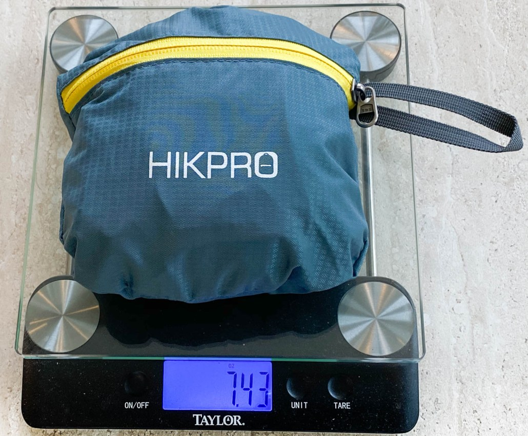 Backpack on scale for weight measurement