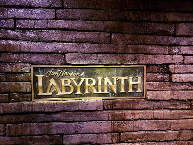 Labyrinth exhibit back wall brick close up