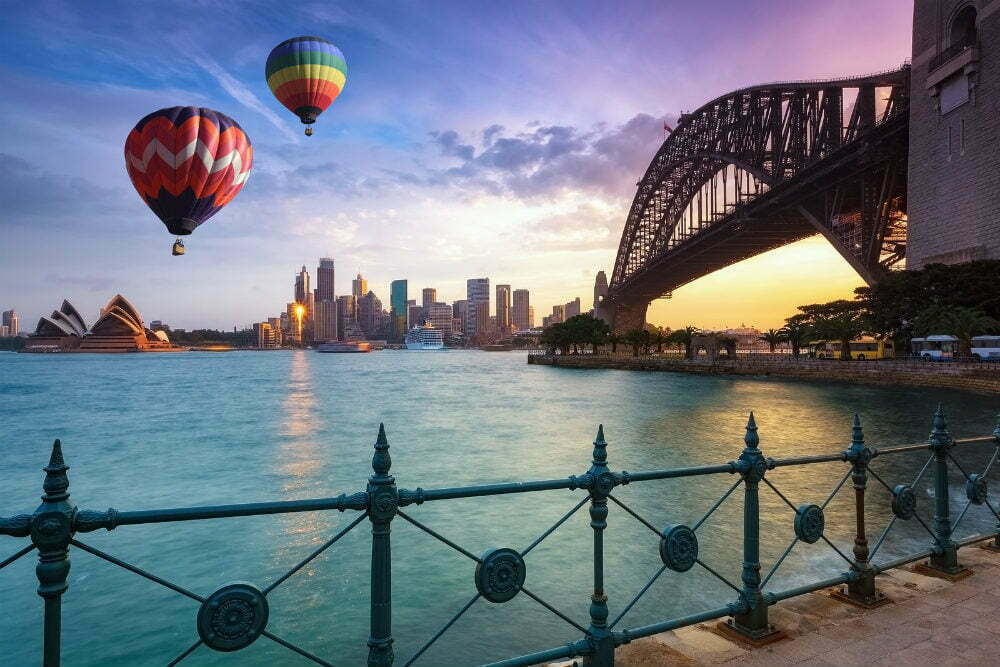 Самые красивые места в Австралии фотографии-воздушные шары над Сидней Бэй