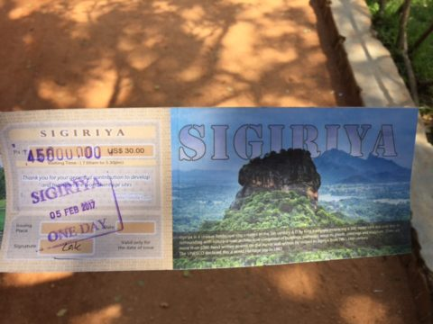 Sigiriya Admission ticket price