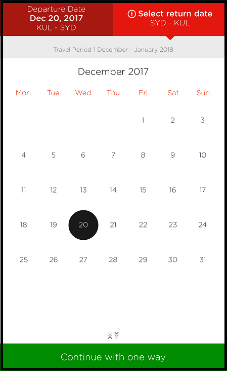 Air Asia flight date selection