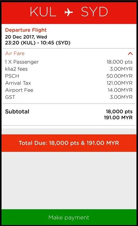 Air Asia flight payment