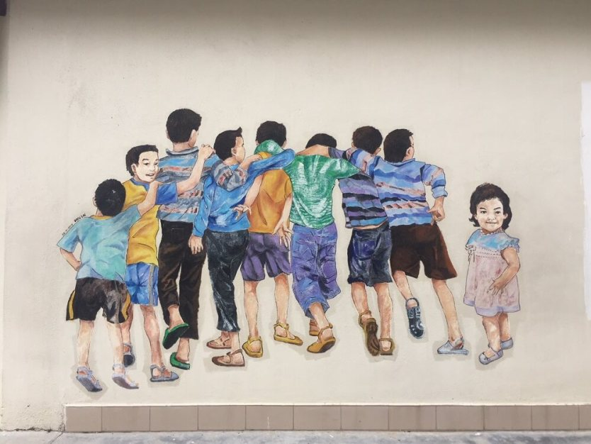 kids standing in a line street art ipoh malaysia