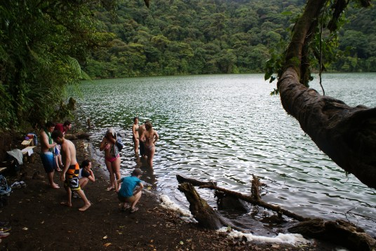 Swimming in Cerro Chato's crater