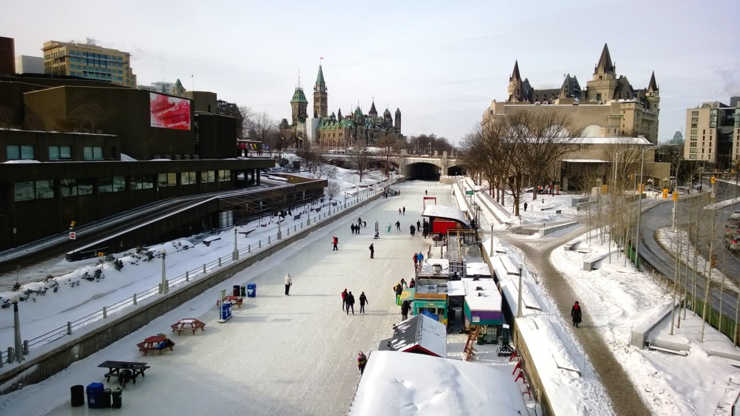 The start of the Rideau Canal Skateway in downtown Ottawa.