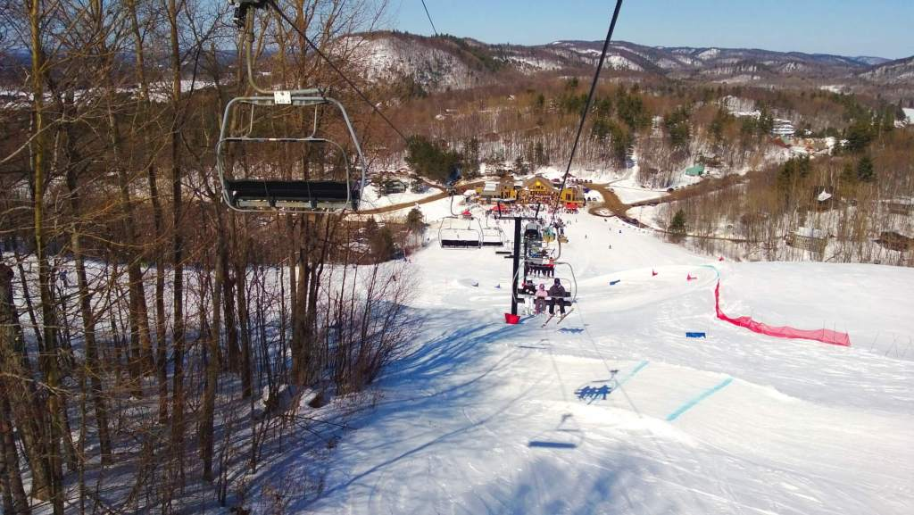 Riding the chairlift at Mont St Marie.