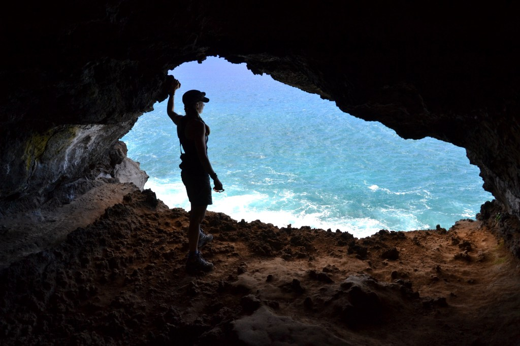Looking out one of the 2 caves that make up Ana Kakenga Cave (commonly known as 'the cave of 2 windows').