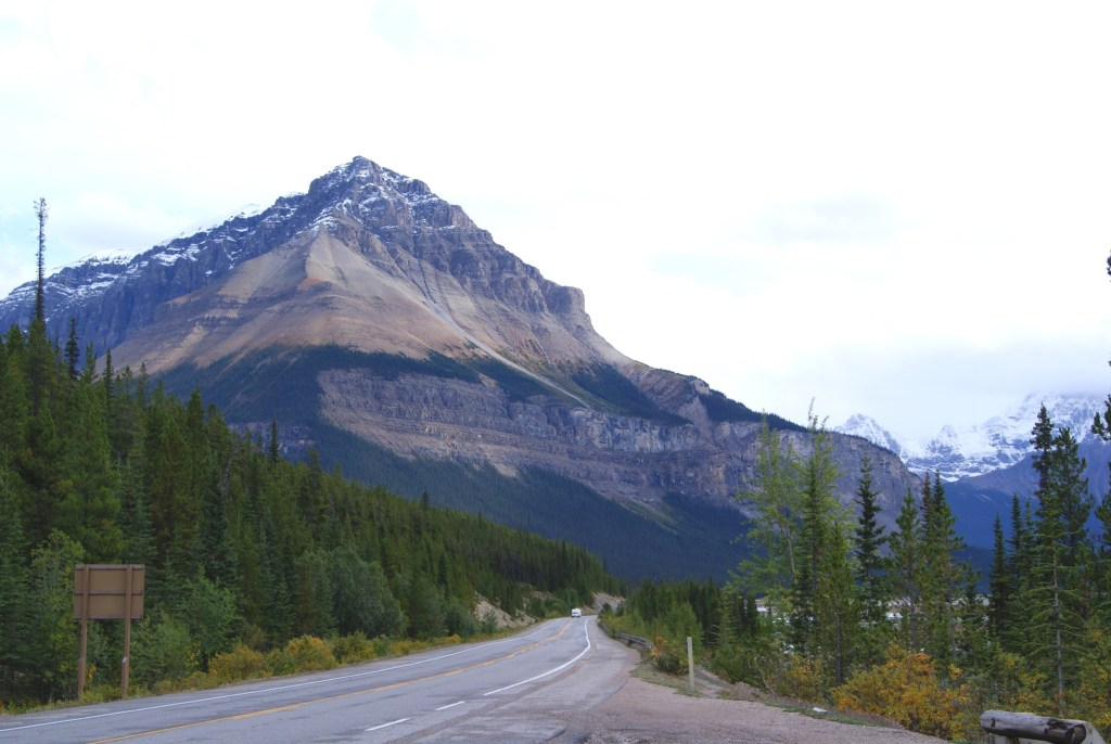 Mountain views along the incredibly scenic Icefields Parkway in Alberta.