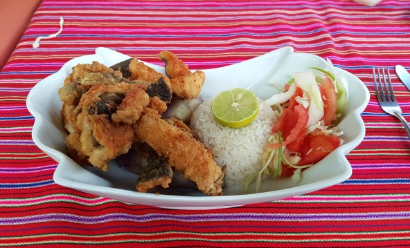 Delicious lunch of fresh, fried trout, rice and salad.