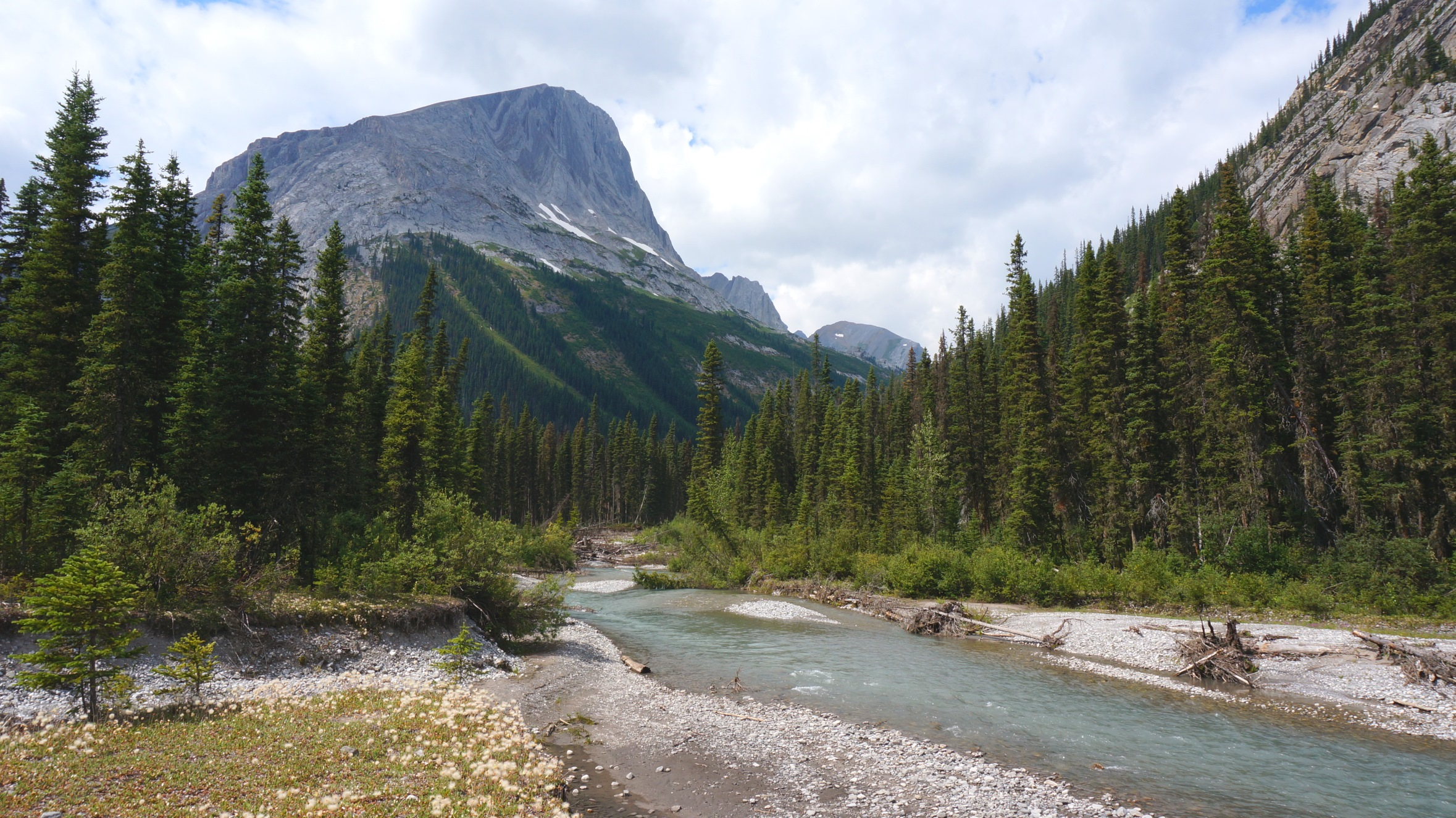 Hiking by glacier fed streams and rivers.