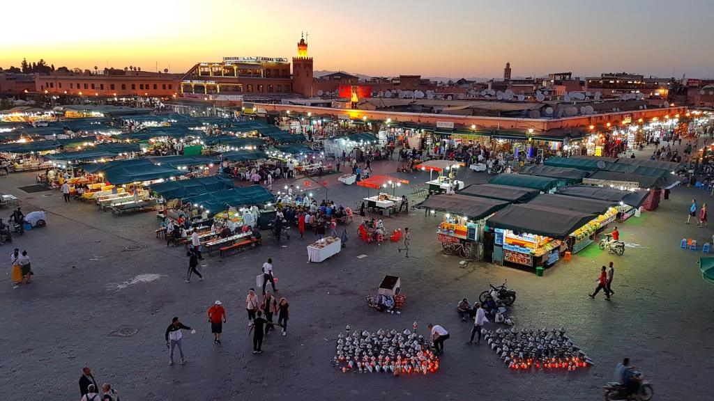 View of Djemaa el-Fna from the cafe's 2nd story outdoor patio.