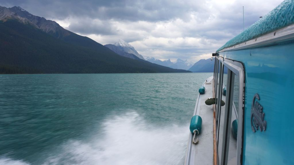 Cruising down Maligne Lake.