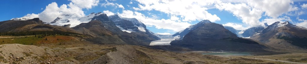 The Athabasca Glacier and surrounding mountains.