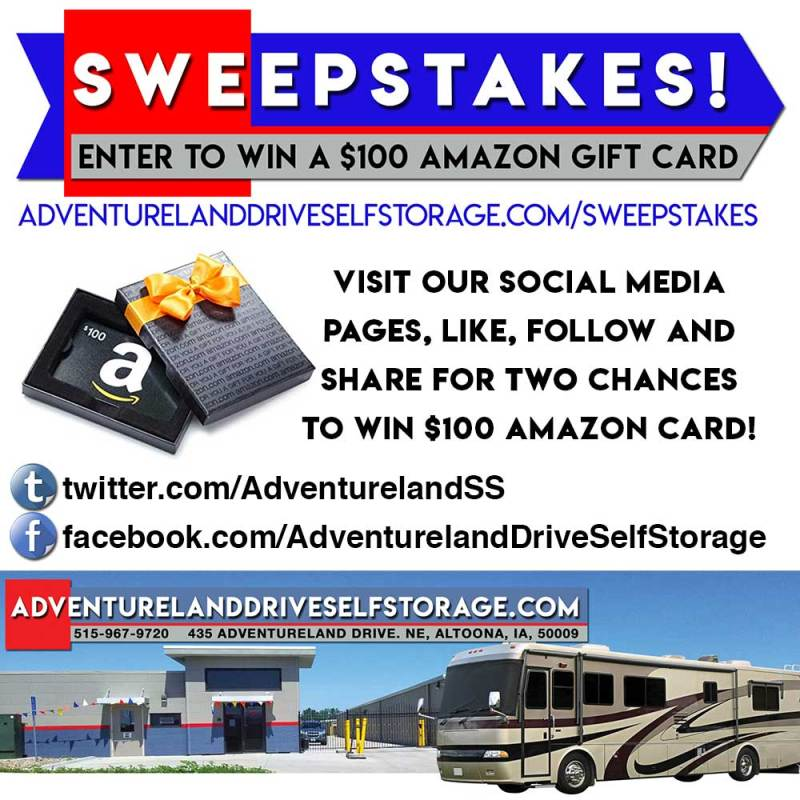 Adventureland Drive Self Storage Holiday Sweepstakes 2018