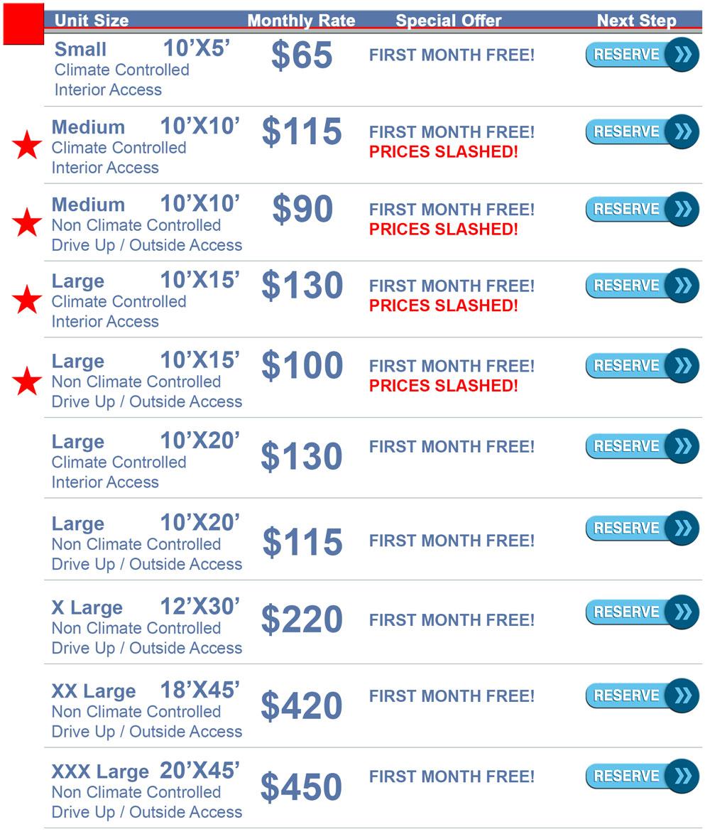 Adventureland Drive Self Storage Rates Unit Sizes