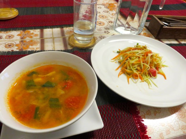 Tom Yum and Papaya Salad- cooked by yours truly