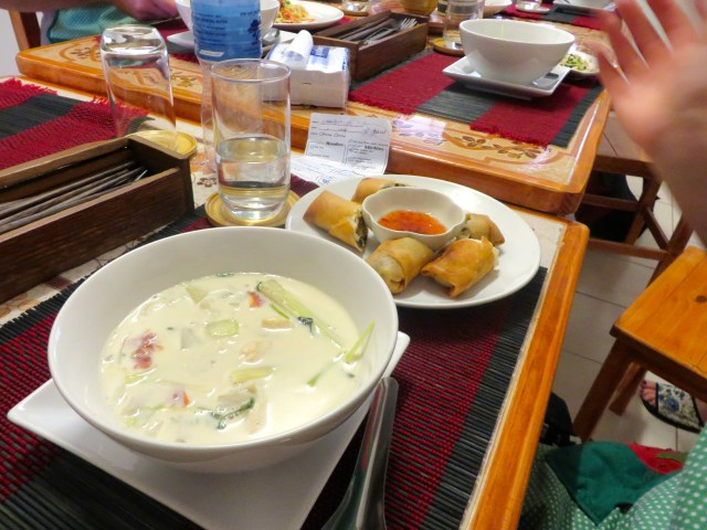 Coconut soup with spring rolls- made by Maddy!