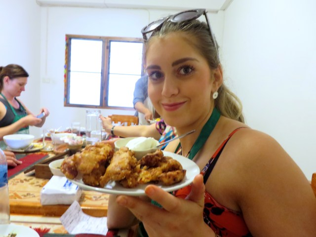 Maddy with her fried bananas with coconut icecream- so yummy!
