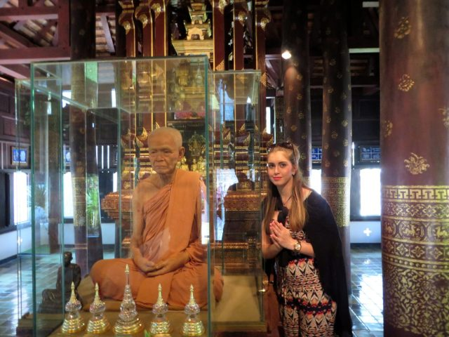 This wax guy weirded Maddy at Wat Chedi Luang. It's also the last time my cardigan was seen alive...
