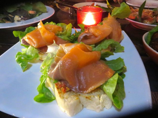 Salmon bruschetta at the Red Snapper on Ko Lanta