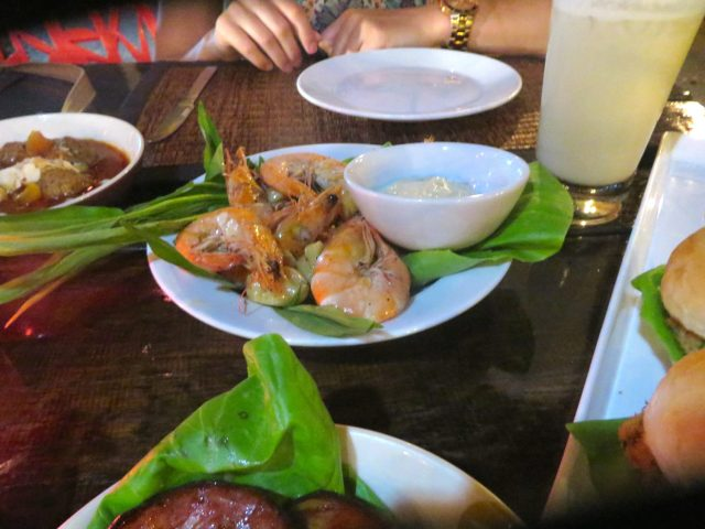 Prawns with aioli at the Red Snapper on Ko Lanta