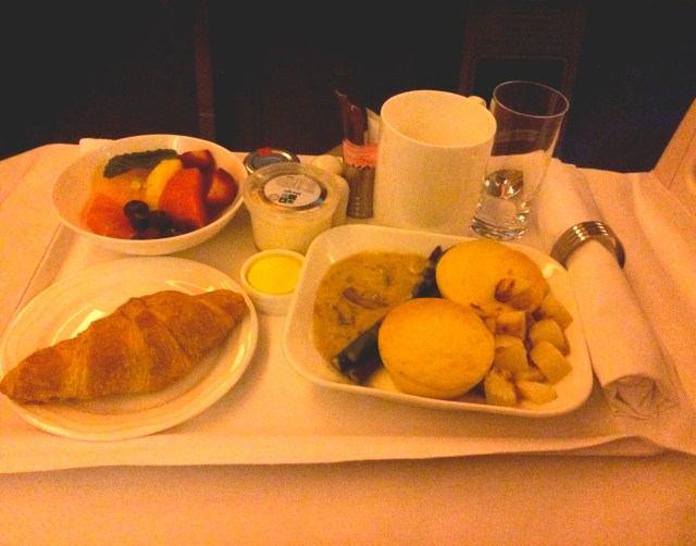 Souffle for Breakfast on Emirates Business Class Flight Melbourne-Kuala Lumpur