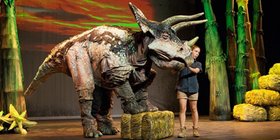 """Erth's Dinosaur Zoo Live,"" an experiential theater production featuring a larger-than-life cast of dinosaur puppets, comes to Smithsonian's National Zoo June 1 through Aug. 31, 2019."