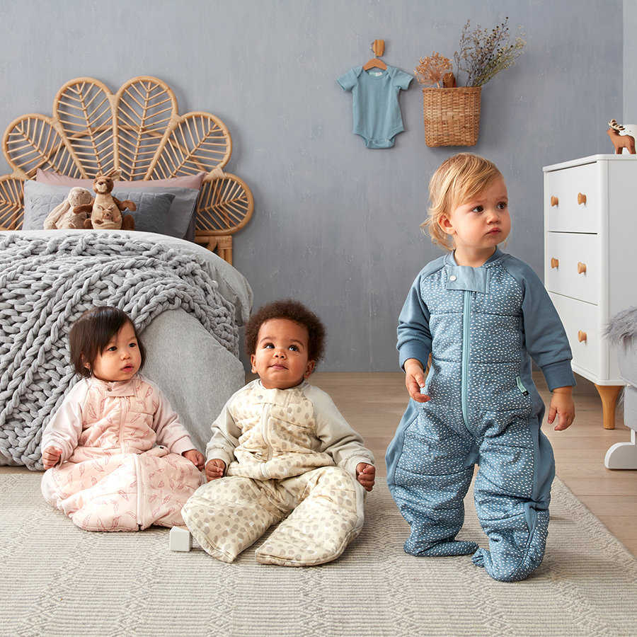 babies and toddlers wearing ergoPouch products