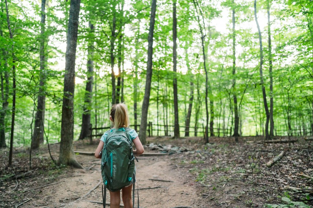 kid hiking with backpack