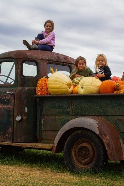 girls in truck with pumpkins