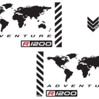 "The Pixel Hut gs00003b BMW GSA Adventure Motorcycle Reflective Decal Kit ""World Adventure R1200"" for Touratech Panniers - Black"