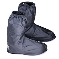 Hilitchi Black Men Waterproof Rainstorm Rainy Day Rain suit Raingear Motorcycle Outdoor Protective Gear Rain Boot Shoe Cover Zipper US 10-11 / Euro 44-45 (Black, US10-11/Euro44-45)