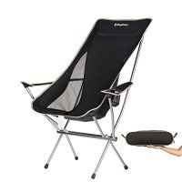 KingCamp Ultralight Compact Strong High Back Folding Chair with Armrest Cup Holder, Only 3.7 lbs VS 265 lbs Weight Capacity, for Picnic Backpacking Hiking Tailgating Camping Bicycling Motorcycling
