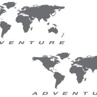 "The Pixel Hut gs000037b Adventure Motorcycle Decal Kit ""World Adventure Map"" for Touratech Panniers - Grey"