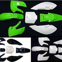 Fairing Kit Plastic Fender for Kawasaki KLX 110 KLX110 DRZ KX 65 (Green+White)