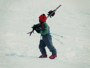 kid ski walking in boots