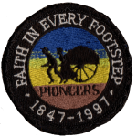 Faith in Every Footstep - Pioneers sesquicentennial patch
