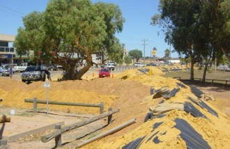 Earth wall to prevent flooding in Kalbarri.