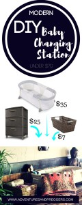 Modern DIY Baby Changing Station- Nursery stations cost a fortune. Save that money for diapers with this Modern DIY Baby Changing Station for under $70. Click to read more!