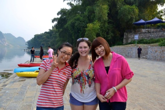 foreigner with locals Guilin
